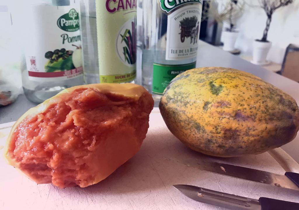 Flesh of a peeled papaya